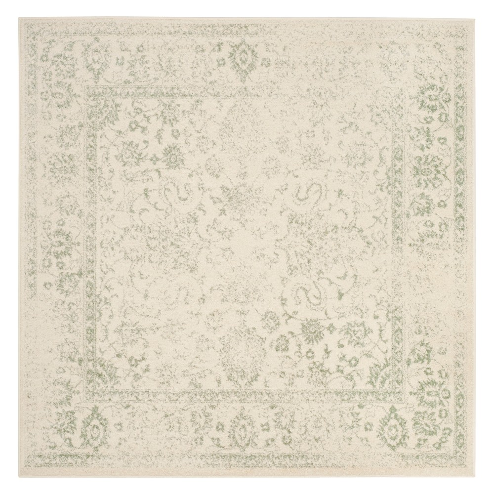 8'X8' Spacedye Design Square Area Rug Ivory/Sage (Ivory/Green) - Safavieh
