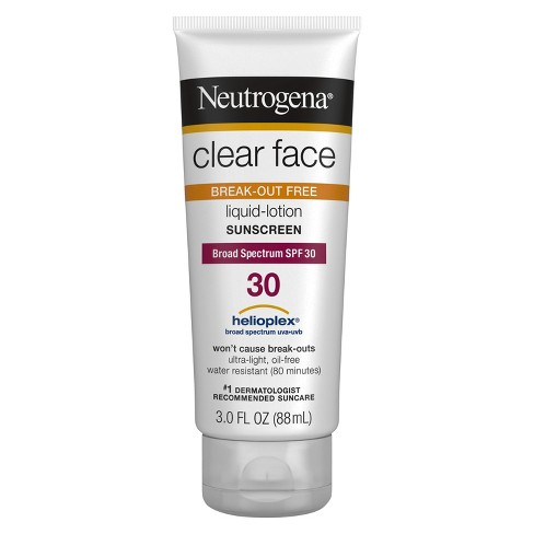 Neutrogena Clear Face Liquid Lotion Sunscreen For Acne-Prone Skin - Broad Spectrum SPF 30 - 3 fl oz - image 1 of 3