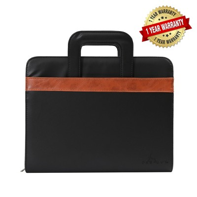 DEERLUX Black Leather Business Portfolio with Handles, Includes Large Notepad and Tablet Sleeve