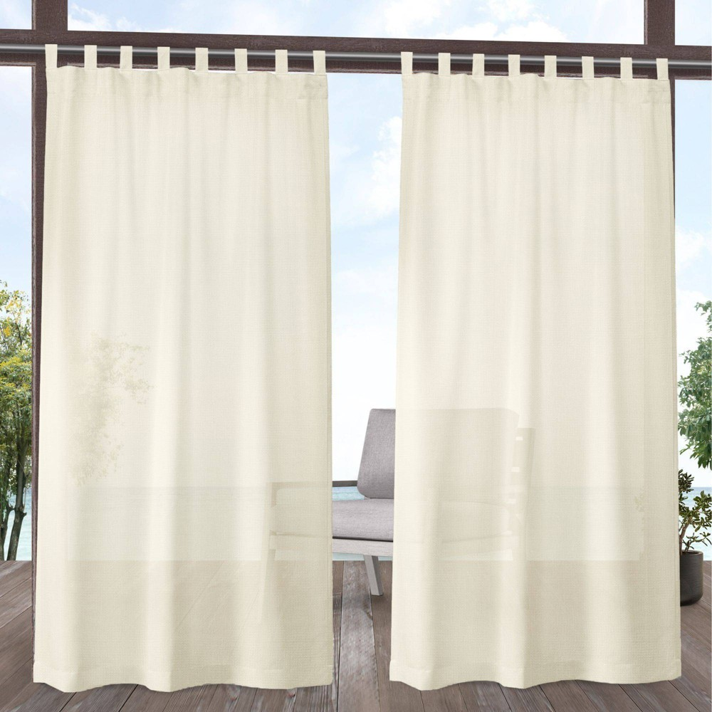 Set Of 2 96 34 X54 34 Miami Indoor Outdoor Tab Top Curtain Panel Ivory Exclusive Home