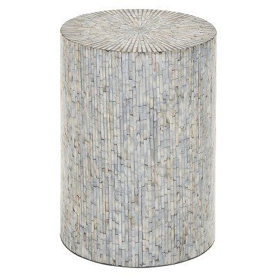 Wood and Shell Tile Round Stool Accent Table Silver - Olivia & May
