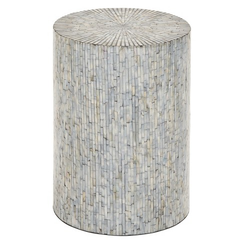 Wood and Shell Tile Round Stool Accent Table Silver - Olivia & May - image 1 of 3