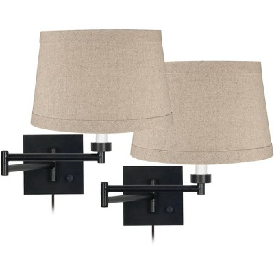 Franklin Iron Works Modern Swing Arm Wall Lamps Set of 2 Espresso Bronze Plug-In Light Fixture Natural Linen Drum Bedroom Bedside