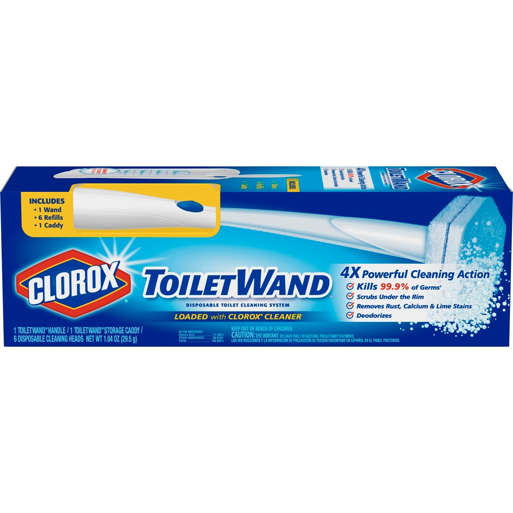 Clorox Toilet Wand Kit with Caddy & 6 Refill Heads, White