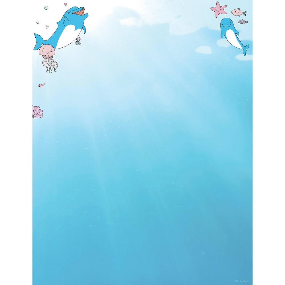 Image of 80ct Dolphin Adventure Letterhead Blue