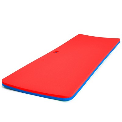 Floatation iQ Personal Floating Oasis 72 x 25 Inch Water Pool Lake Foam Lounger Play Pad Mat, Blue/Red