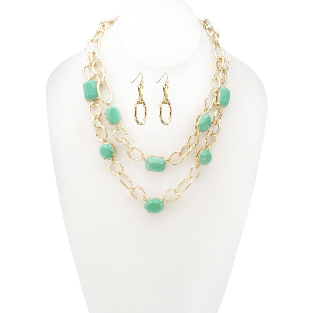 Women's Zirconite Epoxy Stone Double Layered Chain Link Necklace and Earring Set, Mint Green