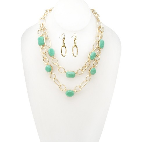 Women's Zirconite Epoxy Stone Double Layered Chain Link Necklace and Earring Set - image 1 of 1