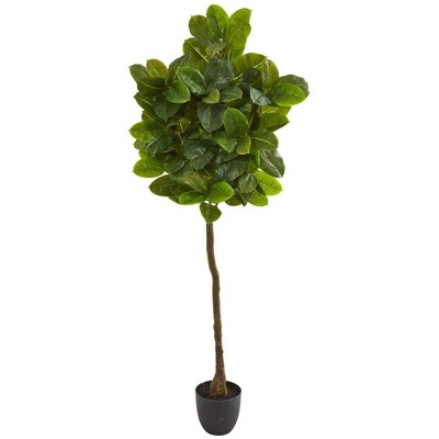 6' Artificial Rubber Leaf Tree in Planter Green/Black - Nearly Natural