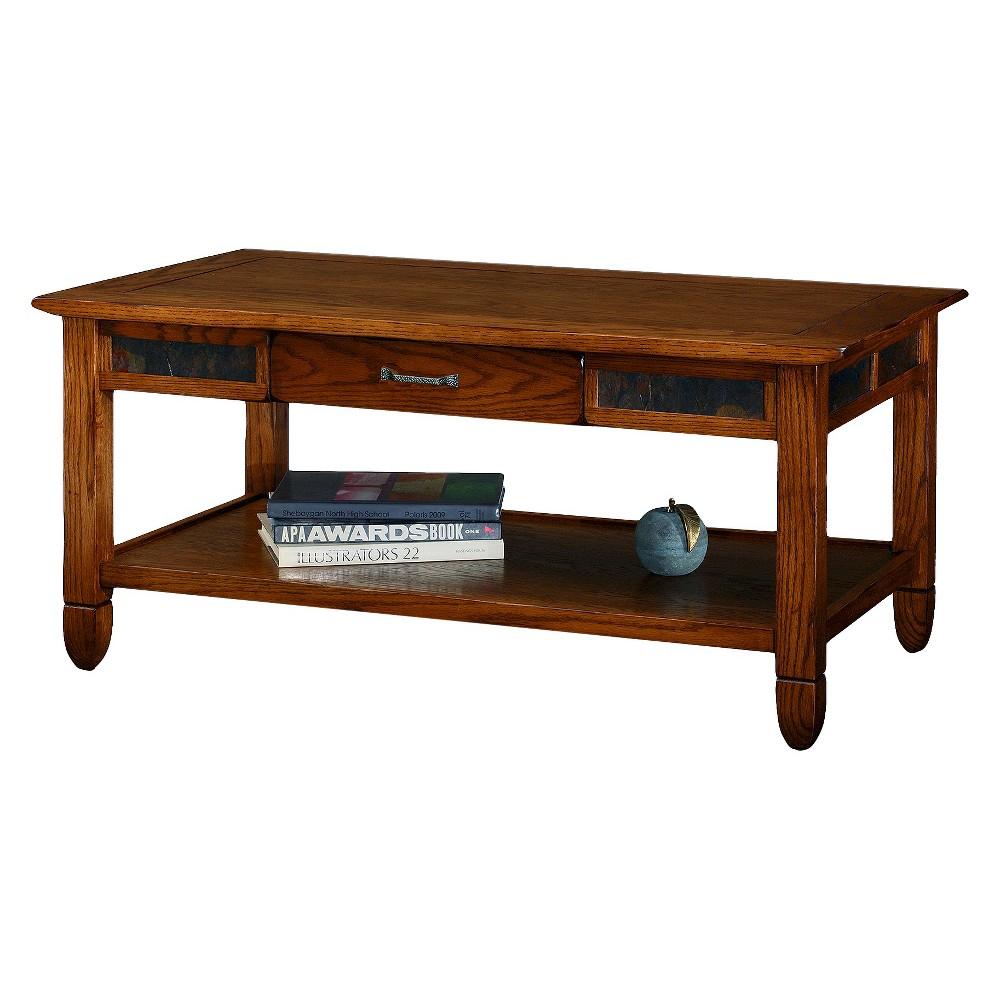 Slatestone Coffee Table Rustic Oak (Brown) Finish - Leick Home