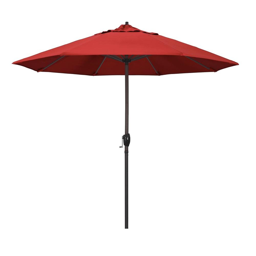 Image of 9' Aluminum Auto Tilt Crank Lift Patio Umbrella - Red
