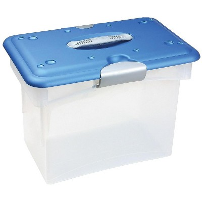 Homz Tote-N-Go Plastic Tote Letter Size Clear/Blue (7882STMB.04)