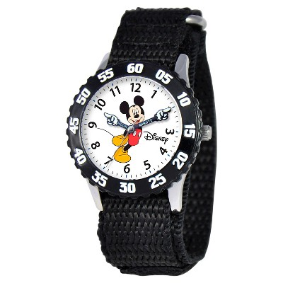Boys' Disney Mickey Mouse Stainless Steel With Articulating Hands and Bezel Watch - Black