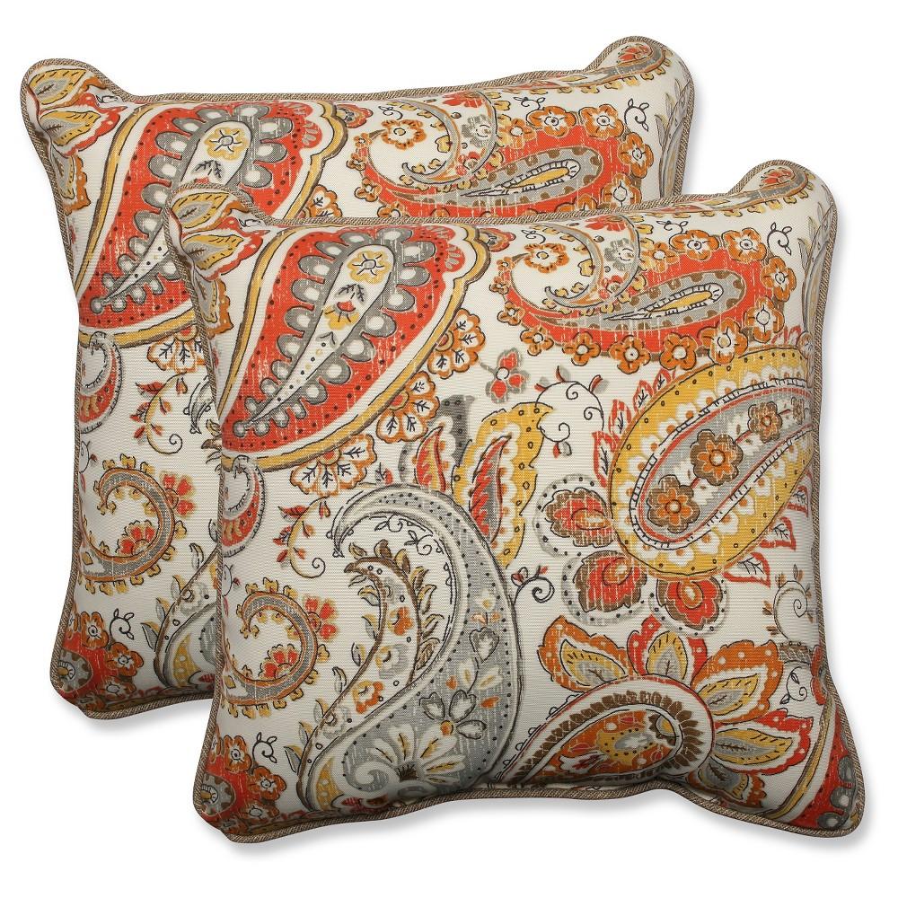 Pillow Perfect Outdoor Throw Pillow Set - Off White, Beige