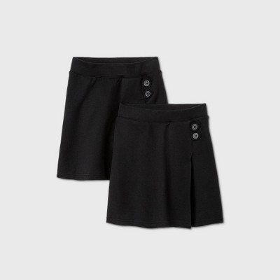 Girls' 2pk Stretch Uniform Knit Skorts - Cat & Jack™ Black