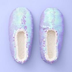 Girls' Flip Sequin Slipper Socks - More Than Magic™ Purple