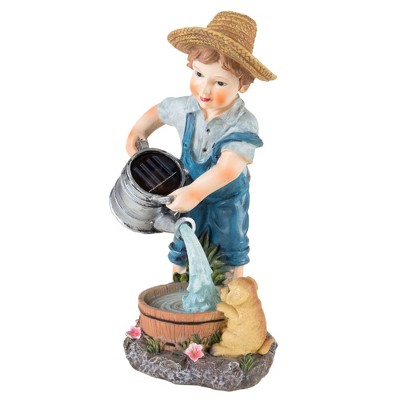 "Little Boy Solar Powered LED Light Garden Statue(6.5""x5.25""x11.75"") - Pure Garden"