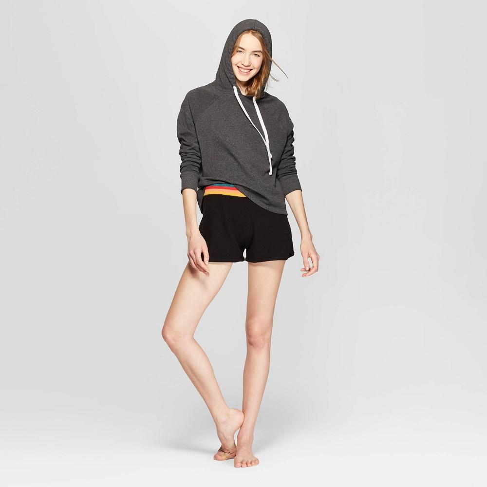 Women's Fleece Hooded Lounge Cropped Sweatshirt - Colsie Gray XL