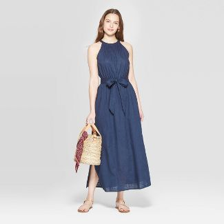 Women's Sleeveless High Neck Maxi Dress - Universal Thread™ Navy M
