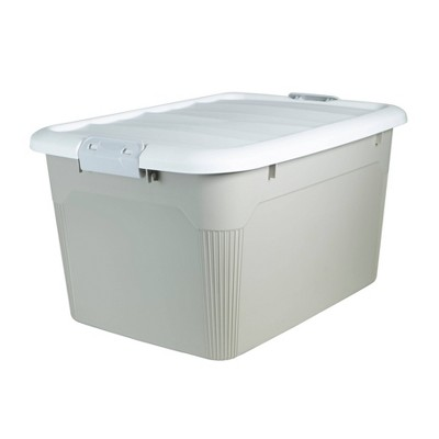 Home Logic 58qt Latching Storage Tote Tan/White