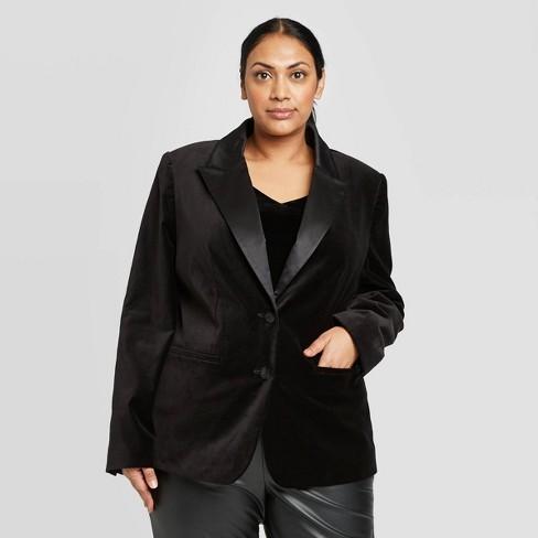 Women\'s Plus Size Velvet Tuxedo Blazer - A New Day™ Black