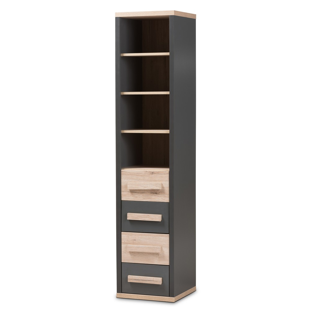 Pandora Modern and Contemporary Two Tone 4 Drawer Storage Cabinet Dark Gray - Baxton Studio, Light Brown