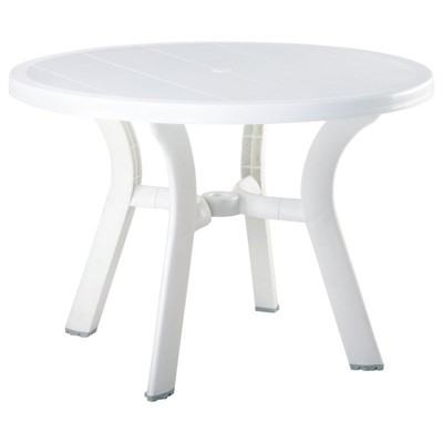 "Truva 42"""" Round Resin Patio Dining Table in White - Compamia"