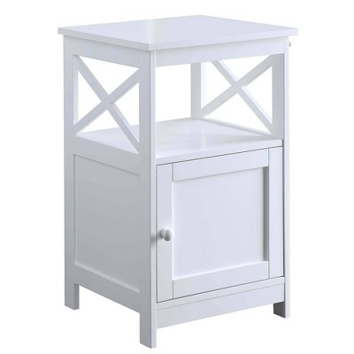 Oxford End Table with Cabinet White - Breighton Home