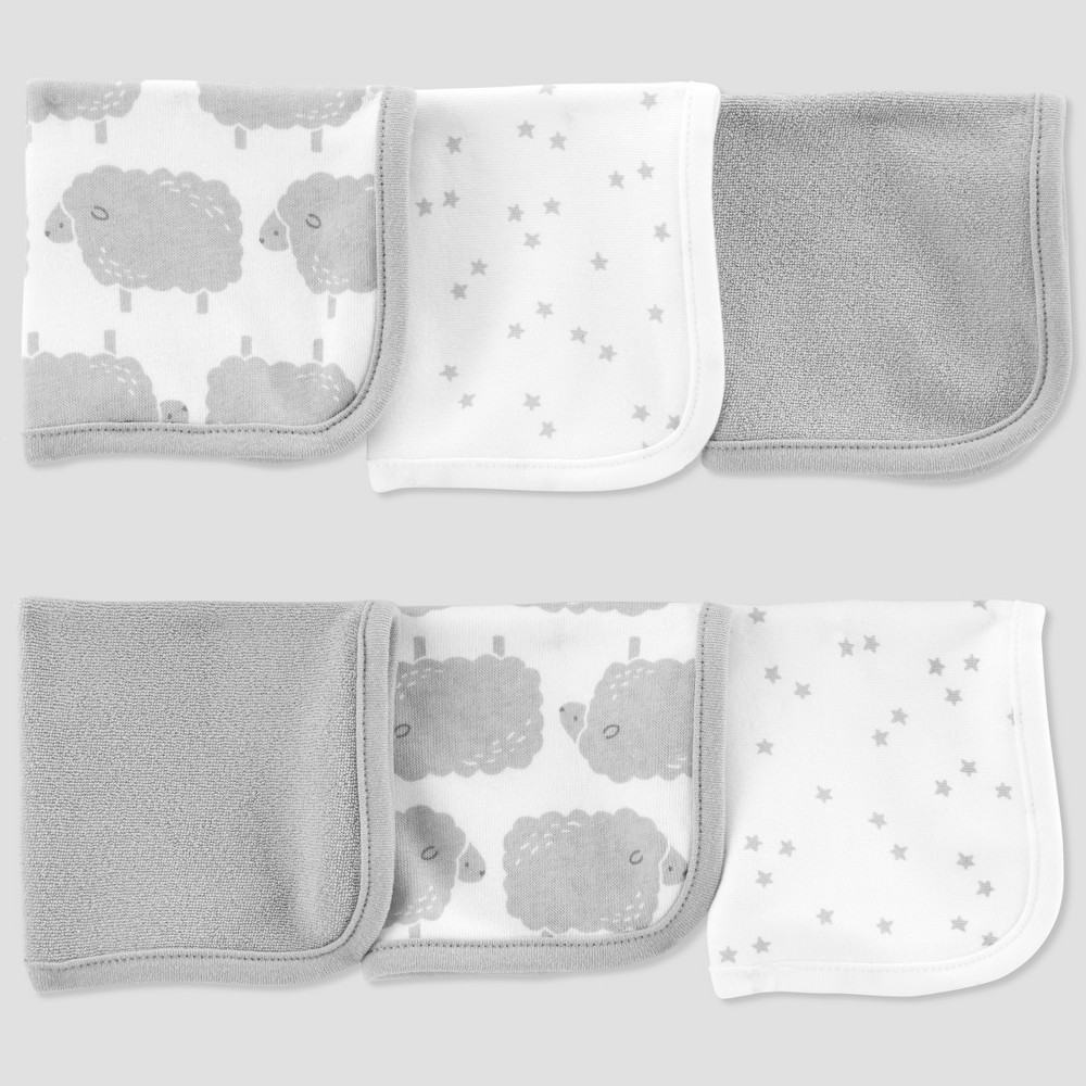 Image of Baby Sheep Washcloth Set - Just One You made by carter's White/Gray