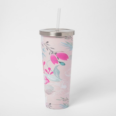 25oz Stainless Steel Straw Tumbler Pink Floral