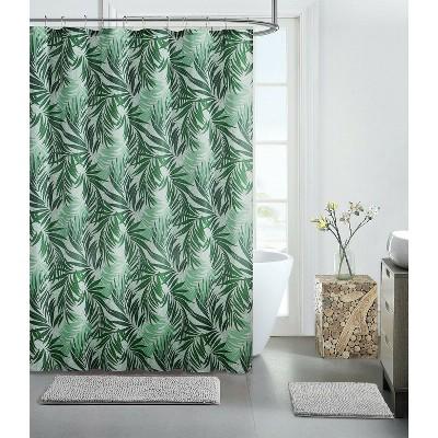 Kate Aurora Tropical Palm Chic Fabric Shower Curtain - Boca Green
