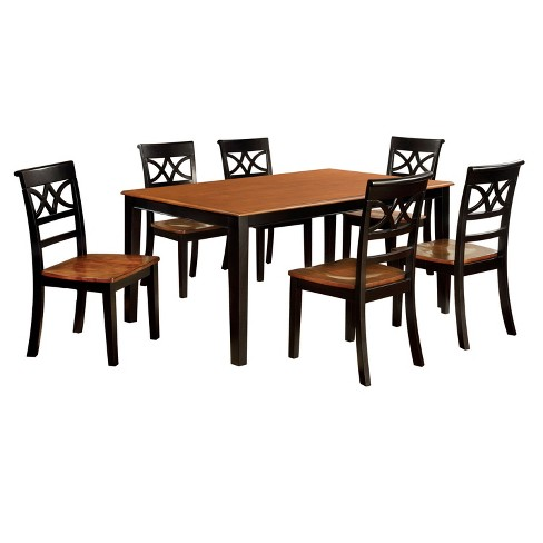 Iohomes 7pc Country Style Dining Table Set Wood Black And Oak