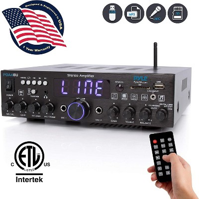 Pyle PDA4BU Bluetooth Multi Channel Home Theater Preamplifier Karaoke Stereo Sound System w/ USB, AUX, 2 Microphone Inputs, and FM Radio Tuner, Black