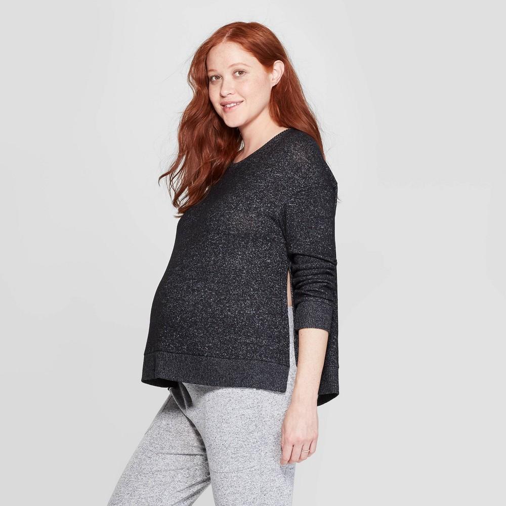 Women's Perfectly Cozy Nursing Lounge Sweatshirt - Stars Above Charcoal (Grey) M
