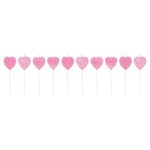 10ct Glitter Hearts Pick Candle Set Pink - Creative Converting® - image 1 of 1