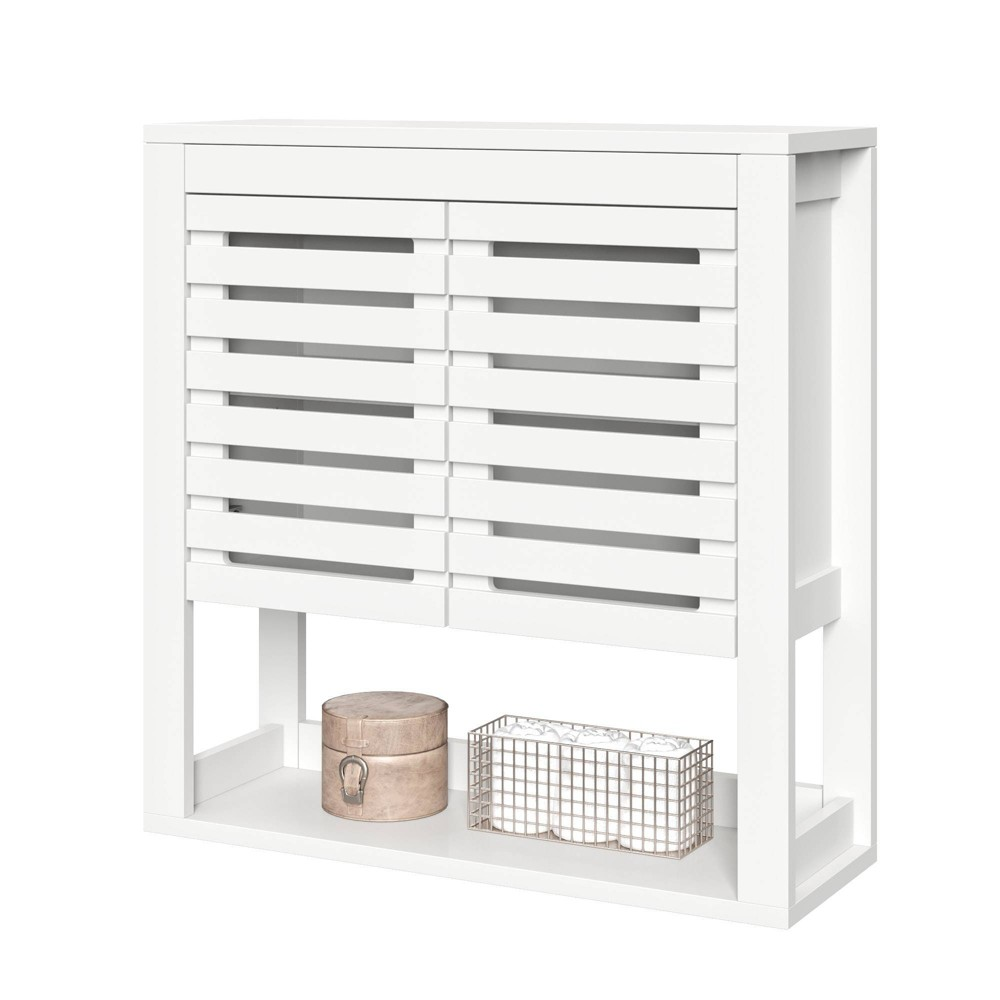 Image of Slatted Double Door Wall Mounted Cabinet with Open Shelf White