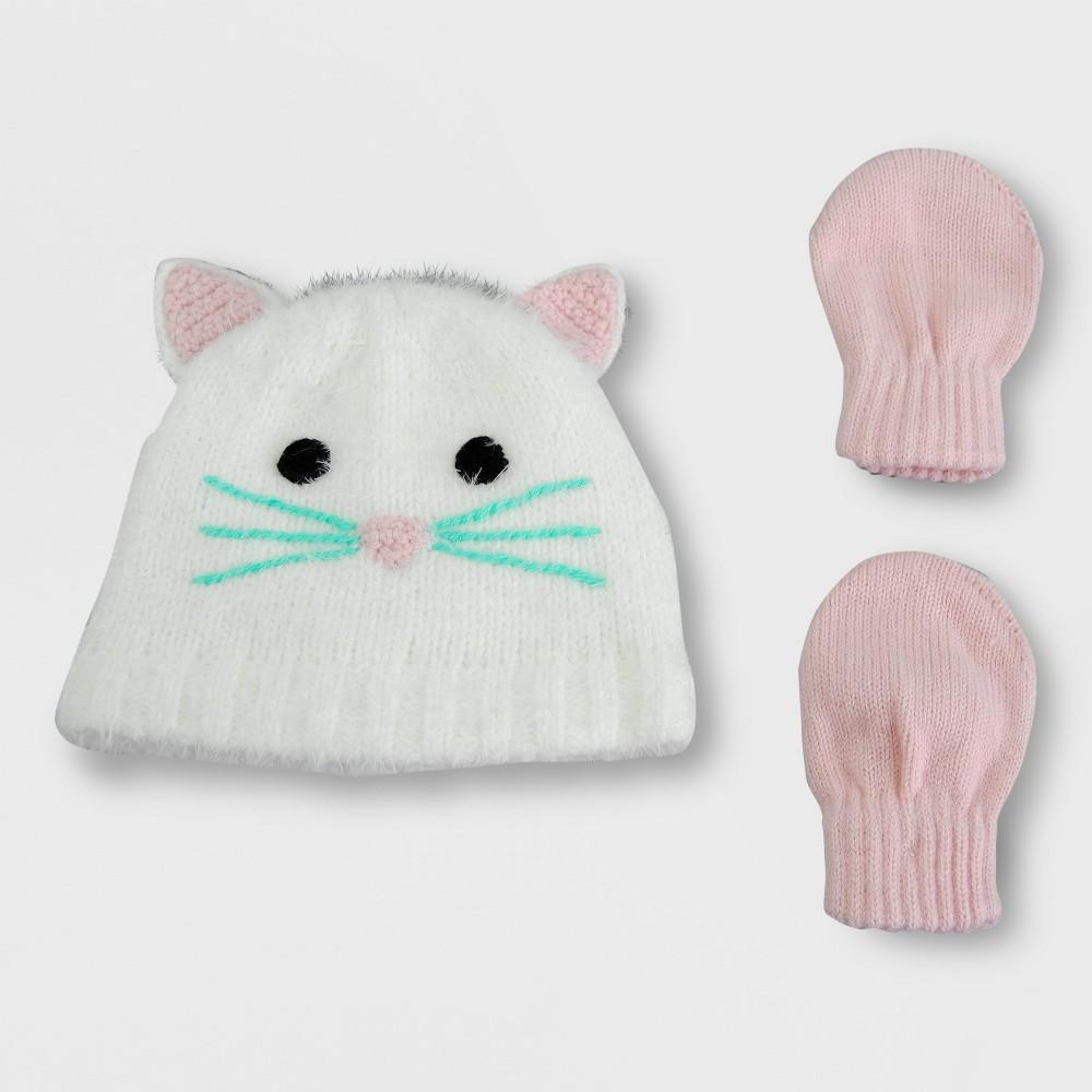 Toddler Girls' Knit Kitty Beanie Hat and Mitten Set - Cat & Jack Cream 2T-5T, Beige