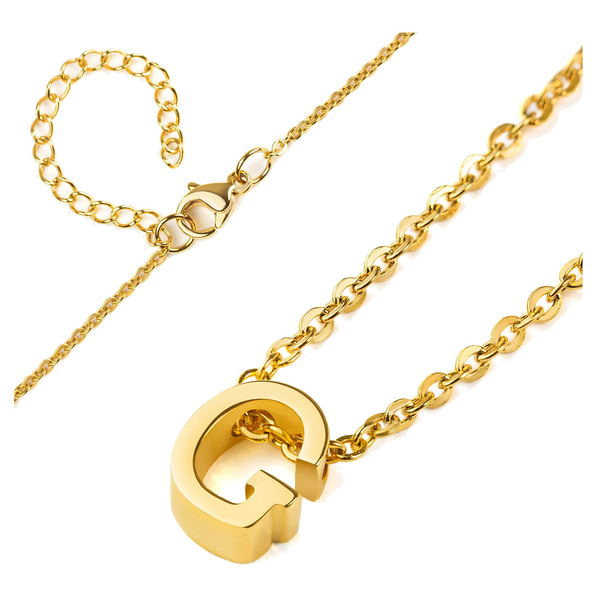 Women's Elya Stainless Steel Initial Pendant Necklace 'z' in 18K Gold, Size: Z