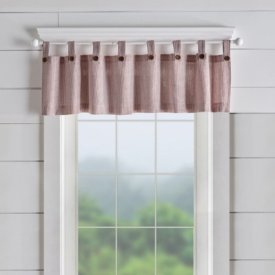 Tucker Ticking Stripe Button Tab Top Window Kitchen Valance - Elrene Home Fashions