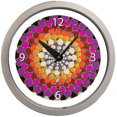 """14.5"""" Artist Series Amy Diener Warm Decorative Clock Silver - The Chicago Lighthouse"""
