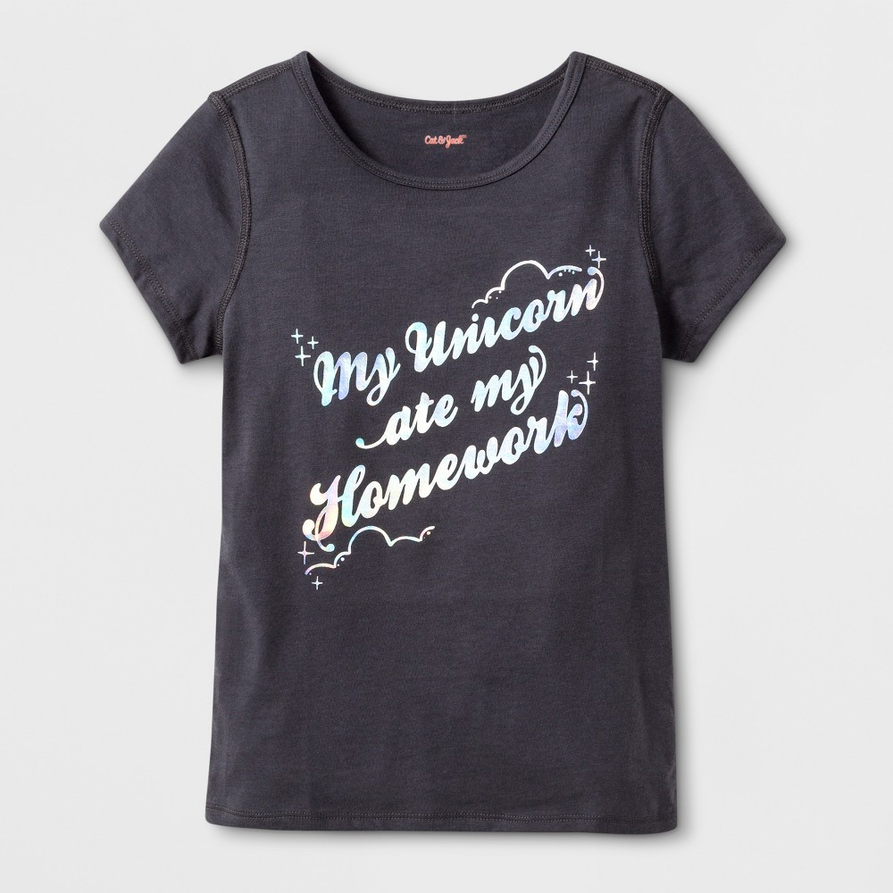 Girls' Adaptive Short Sleeve 'Unicorn Ate My Homework' Graphic T-Shirt - Cat & Jack Charcoal XL, Gray