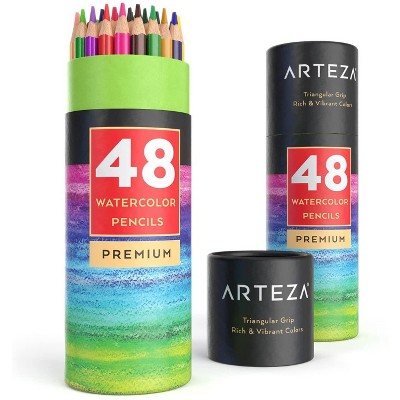 Arteza Watercolor Pencils, Triangle Shaped, Set of 48