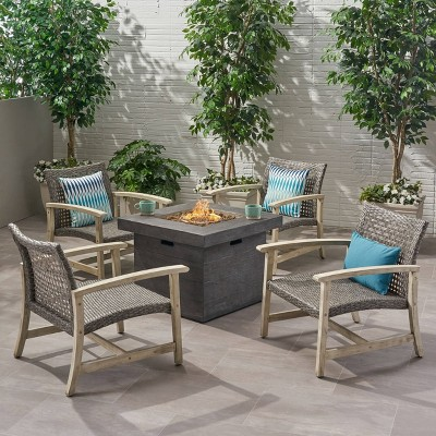 Breakwater 5pc Wood & Wicker Club Chairs & Fire Pit Set - Light Gray/Black/Gray -Christopher Knight Home