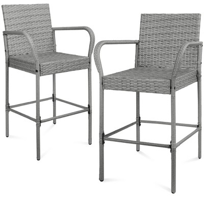 Best Choice Products Set of 2 Wicker Bar Stools w/ Seat Cushions, Footrests, Armrests for Patio, Pool, Deck
