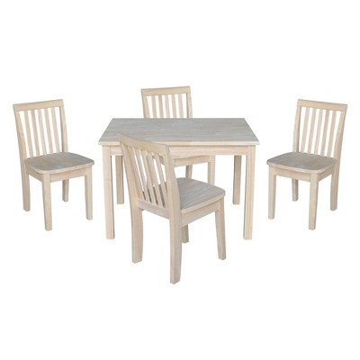 Kids' Table with 4 Mission Juvenile Chairs Unfinished - International Concepts