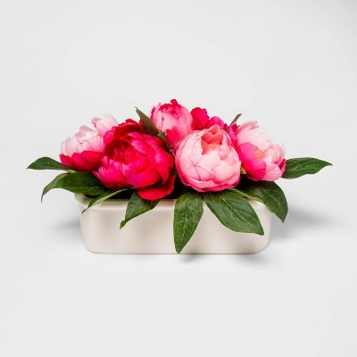 "13"" x 7.5"" Artificial Peony Arrangement in Ceramic Pot Pink/White - Threshold™"