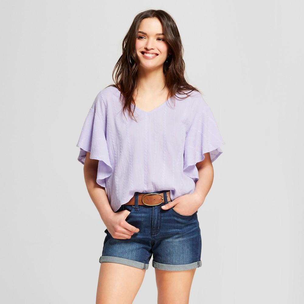 Women's Ruffle Sleeve Top - Universal Thread Purple L