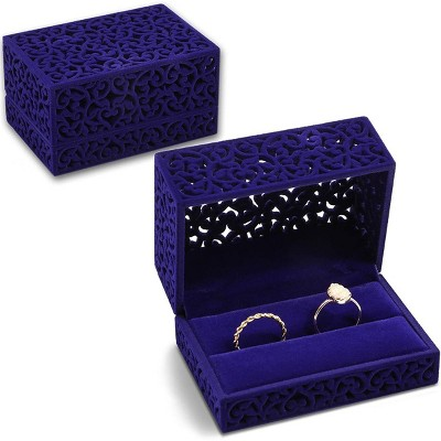 Sparkle and Bash Velvet Double Ring Box for Wedding Ceremony Ring Bearer, Blue, 3.3 x 2.3 x 1.8 inches