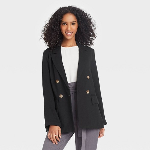 Women S Double Breasted Blazer A New Day Black M