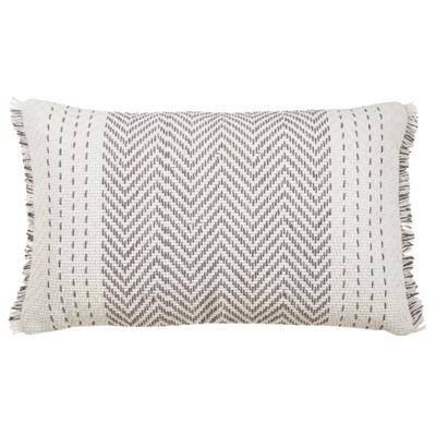 """14""""x23"""" Kantha Stitch Pillow Cover Gray - SARO Lifestyle"""